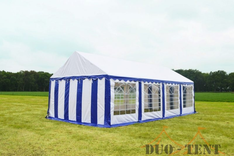 Partytent 4x8 Classic brandvertragend PVC - Blauw / wit