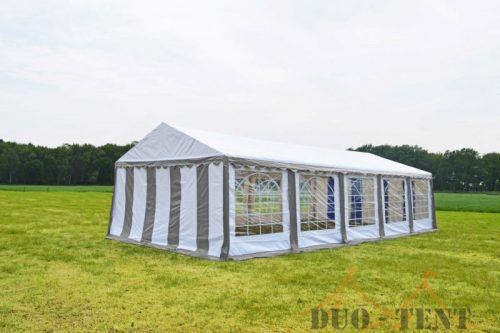 Partytent 4x10 Classic brandvertragend PVC - Grijs / wit
