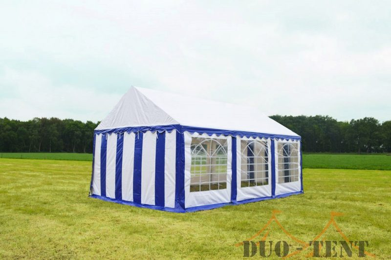 Partytent 6x6 Classic brandvertragend PVC - Blauw / wit