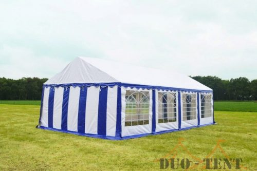 Partytent 6x8 Classic brandvertragend PVC - Blauw / wit