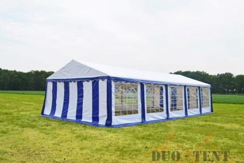 Partytent 6x10 Classic brandvertragend PVC - Blauw / wit