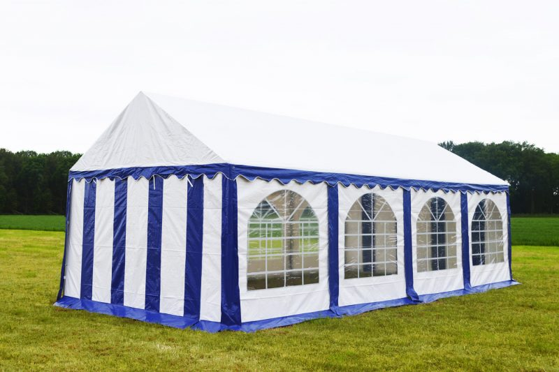 Partytent 3x8 Premium brandvertragend PVC - Blauw/wit