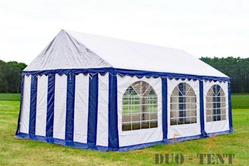 Partytent 5x6 Premium brandvertragend PVC - Blauw / wit